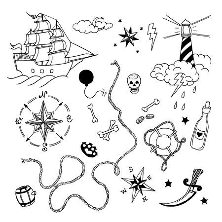Ensemble d'éléments dessinés à la main dans le style de tatouage, illustration vectorielle