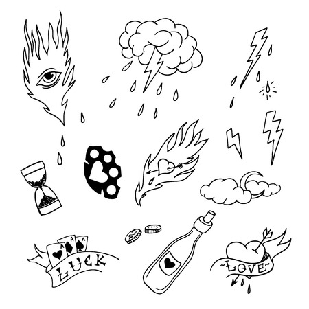 Set of hand drawn elements in tattoo style illustration