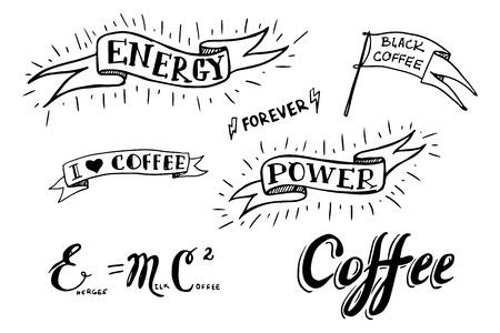 Set of hand drawn coffee theme elements illustration