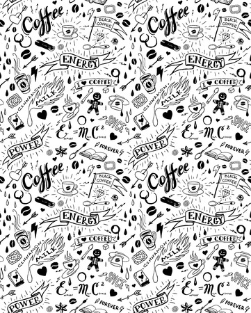 Coffee seamless pattern in traditional tattoo style, vector illustration Vector
