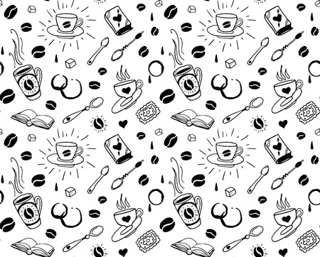 traditional tattoo: Coffee seamless pattern in traditional tattoo style
