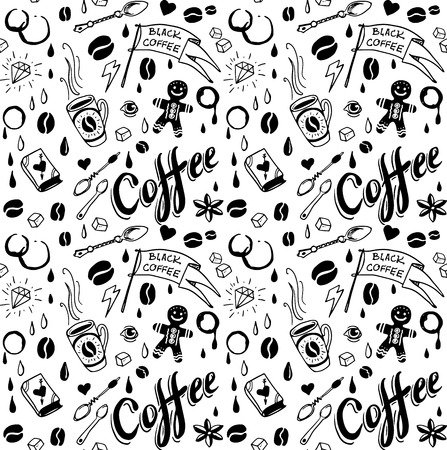 Coffee seamless pattern in traditional tattoo style Vector
