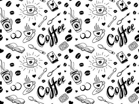 tattoo traditional: Caff� seamless in stile tatuaggio tradizionale