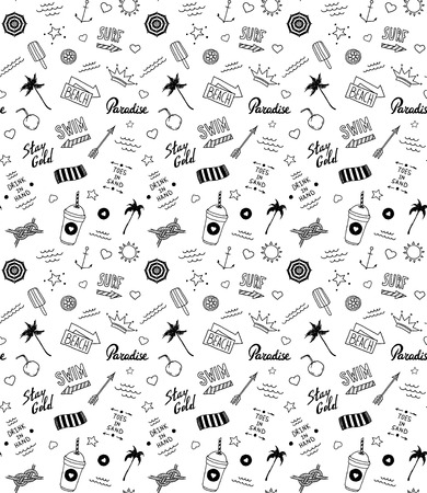 Summer beach pattern in old school tattoo style, vector Vector