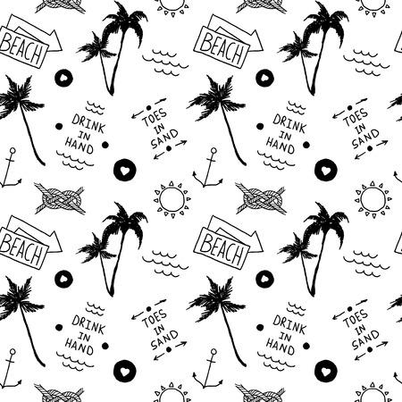 오래된 학교 문신 스타일에서 여름 해변 패턴