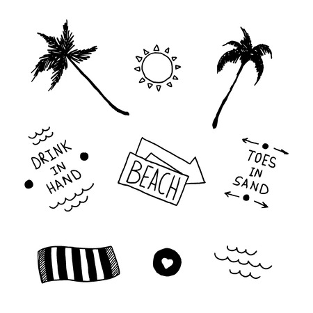 old school: Summer beach set in old school tattoo style Illustration