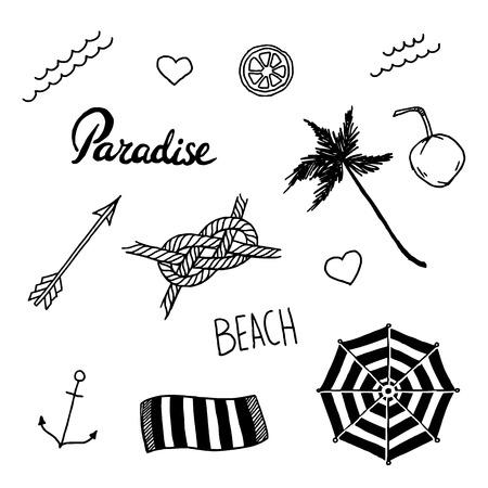 Summer beach set in old school tattoo style, vector