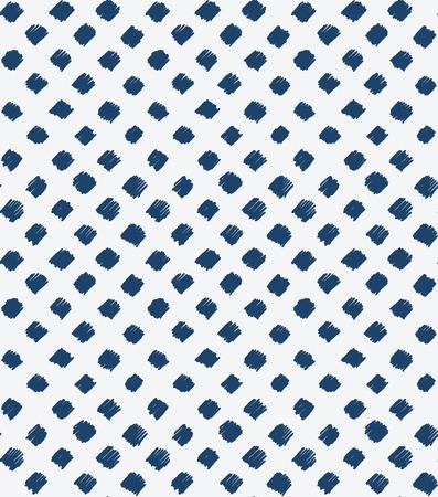 Indigo blauwe hand getekende naadloze patroon, vector Stock Illustratie