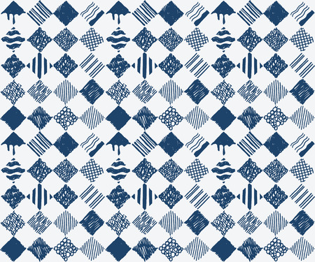 Indigo blue hand drawn seamless pattern, vector Vector