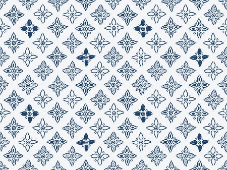 dutch tiles: Indigo blue hand drawn seamless pattern, vector