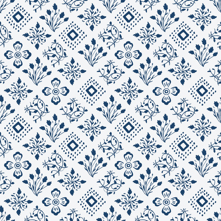 indigo: Indigo blue hand drawn seamless pattern, vector