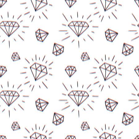Hand drawn diamond pattern Vector