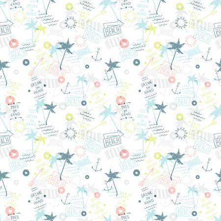 Summer beach pattern in old school tattoo style Vector