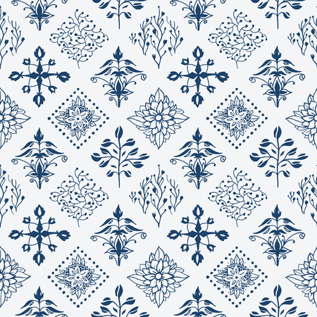 Indigo blue hand drawn seamless pattern Иллюстрация