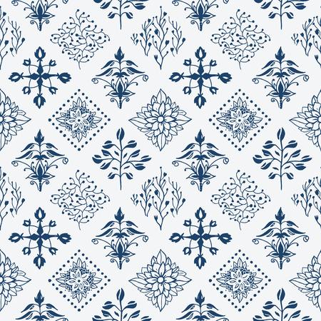 dutch tiles: Indigo blue hand drawn seamless pattern Illustration