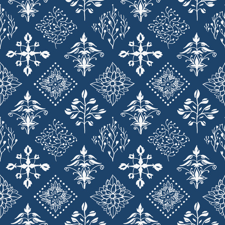Indigo blue hand drawn seamless pattern 일러스트