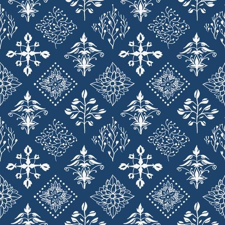 Indigo blue hand drawn seamless pattern Vectores
