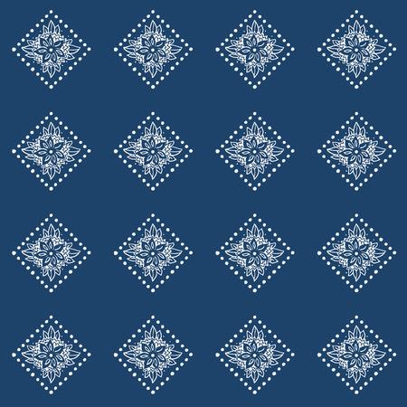 Indigo blauwe hand getrokken naadloze patroon