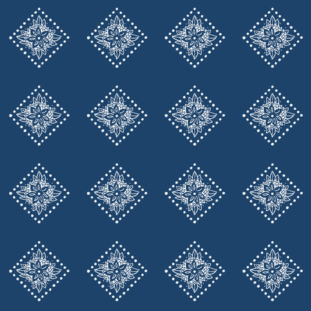 Indigo blue hand drawn seamless pattern Vector