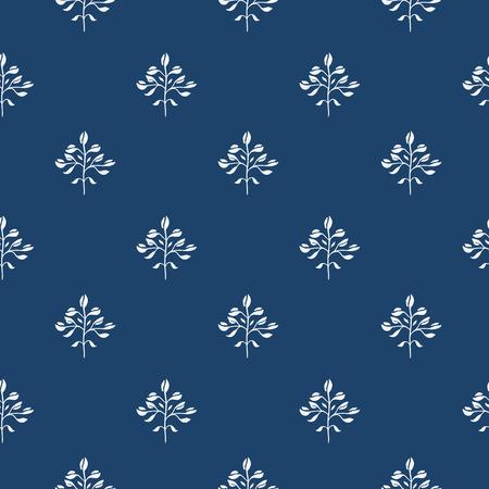 Indigo mano azul dibujado patrón transparente