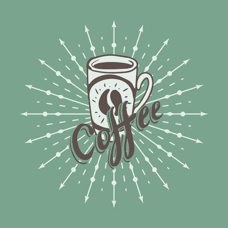 Hand drawn background with coffee mug Vector