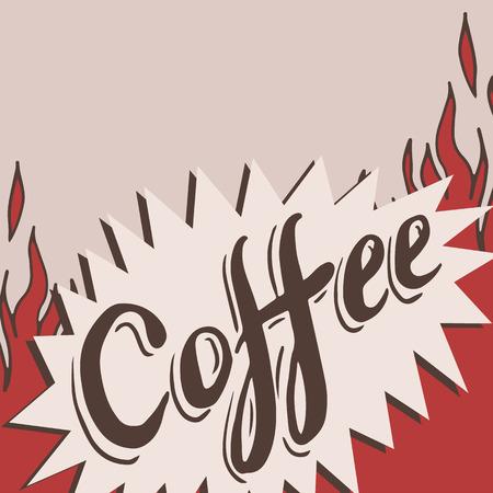 fond caf�: Tir� par la main caf� de fond avec flamme