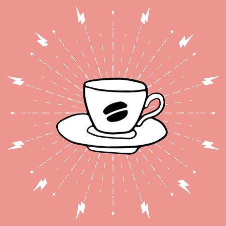 コーヒーカップ: コーヒー カップに描かれた背景を手します。  イラスト・ベクター素材