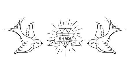 tatouage oiseau: tatouage fond de la vieille école Illustration