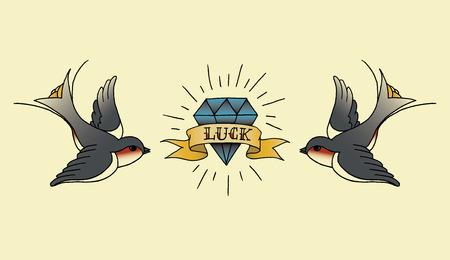 old school tattoo background Stock Illustratie