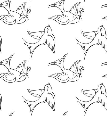 tatuaje de aves: fondo de tatuajes de la vieja escuela Vectores