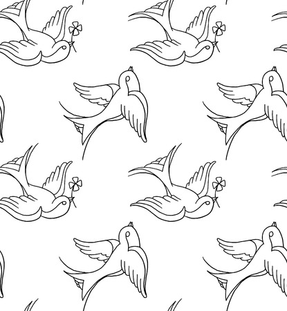 tatouage oiseau: tatouage fond de la vieille �cole Illustration