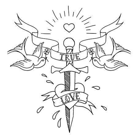 Oude school tatoeages patroon Stockfoto - 30644447