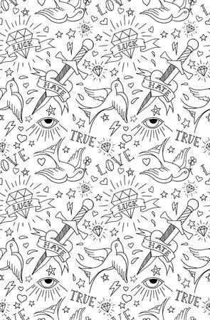 golondrinas: Patrón de tatuajes de la vieja escuela Vectores