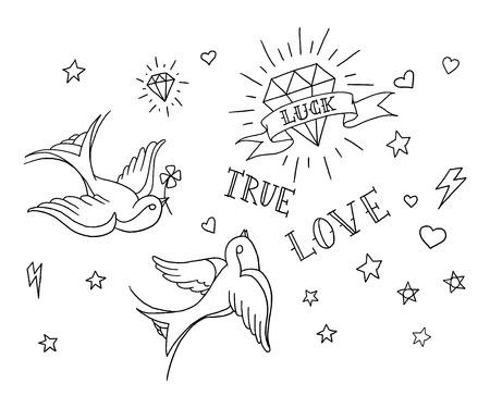 coeur en diamant: anciens éléments de tatouage de l'école mis en Illustration