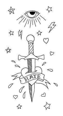 cuchillos: elementos del tatuaje de la escuela viejo juego