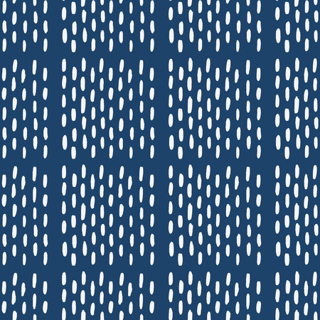 indigo: Hand drawn seamless indigo folk pattern Illustration