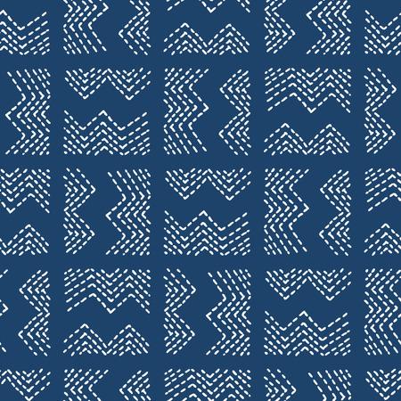 手描きのシームレスなインディゴ民俗パターン