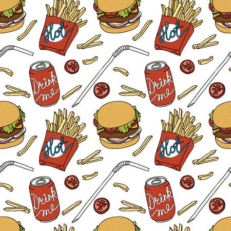 Hand drawn fast food doodle pattern Illustration