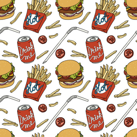 food and drink: Hand drawn fast food doodle pattern Illustration