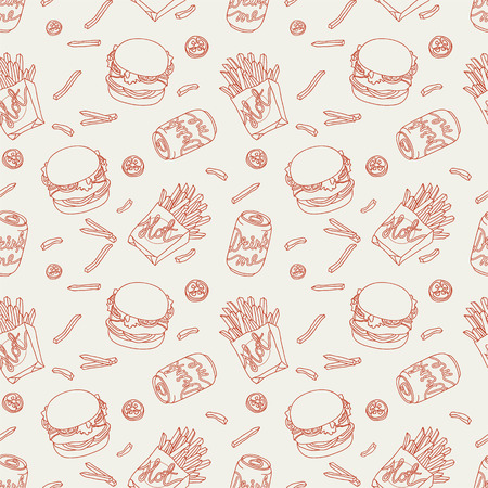 french fries: Hand drawn fast food doodle pattern Illustration