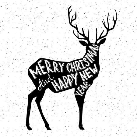 reindeer christmas: Mano Christmass dibujado ciervos ilustraci�n