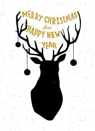 christmass: Mano Christmass dibujado ciervos ilustraci�n