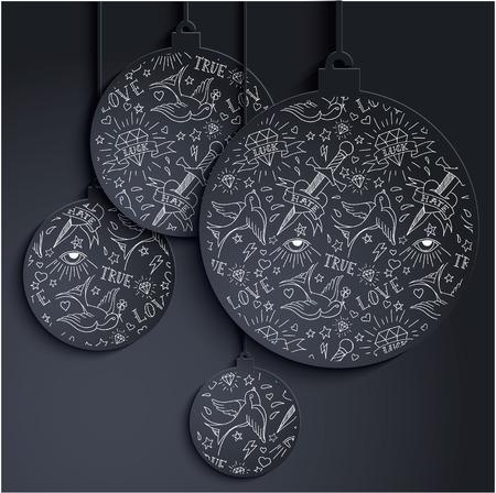 Miminal xmas balls with tattoo pattern Vector