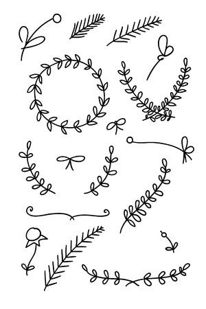 Set of floral hand drawn doodles Ilustração