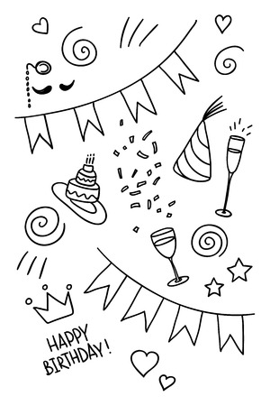 Set of hand drawn doodles, birthday theme Vector