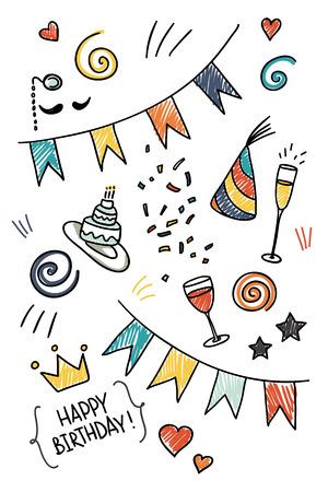 Set of hand drawn doodles, birthday theme Vector