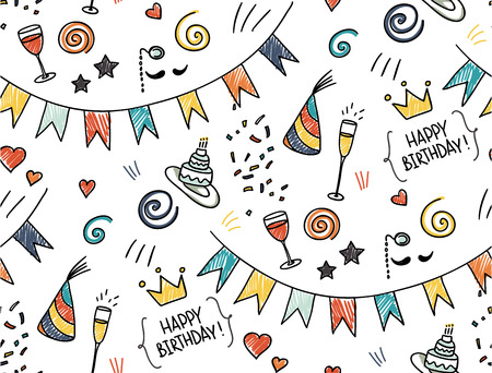 Hand drawn seamless doodle pattern, birthday theme Vector