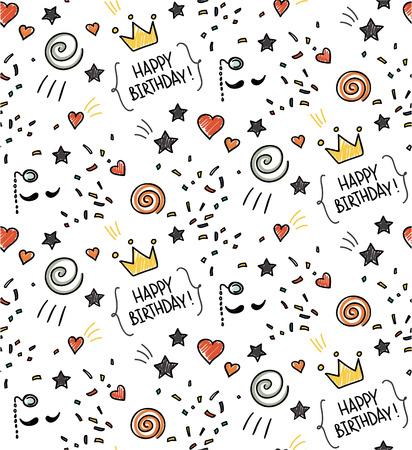 orange cake: Hand drawn seamless doodle pattern, birthday theme