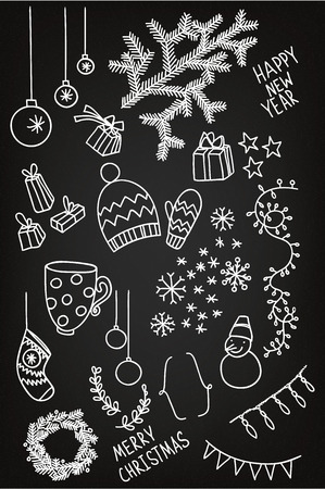 Set of sketchy doodle winter elements Vector