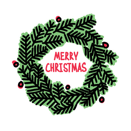 Hand drawn Christmas doodle wreath